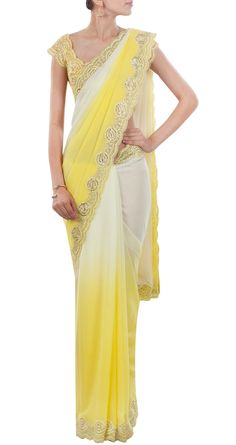 SUNEET VERMA Lemon yellow and ivory shaded sari