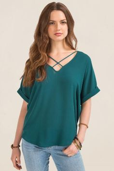 Lush Ainsleigh X Neck Blouse-Evergreen