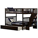 Woodland Staircase Bunk Bed with Urban Trundle Antique Walnut Full Over Full deals week