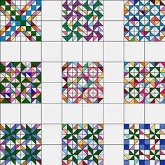 Block of the Month March 08 half square swap via uncommon threads quilt guild Quilt Block Patterns, Pattern Blocks, Quilt Blocks, Puzzle Quilt, Quilting Tutorials, Quilting Projects, Quilting Designs, Half Square Triangle Quilts Pattern, Square Quilt