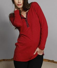 Take a look at this Wine Silk-Blend Henley Top by Language on #zulily today!