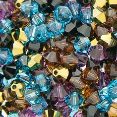 Swarovski Crystal, 4mm Bicone, Tribal Beauty, 50pc | Aunties Beads