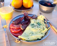 Truffle Oil Omelet with Spinach and Mushrooms