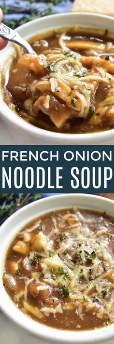 Take your love of soup to the next level with this delicious French Onion Noodle Soup. All the flavors of the classic French Onion Soup, with the added bonus of noodles! This soup is thick, hearty, and packed with flavor. It makes a great weeknight dinner and is also perfect for serving to guests or cozying up to on a lazy fall weekend. If you love French Onion Soup, you're going to fall in love with this comforting, delicious twist! @WFDRecipe #Reames #HomemadeGoodness #ad