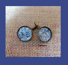 Dormeuses liberty éloïse bleu 18 mm : Boucles d'oreille par crocmyys