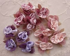 12pc HAND DYED Satin Organza Fabric Flower Applique Baby Doll ribbon rose dog hair bow accessory