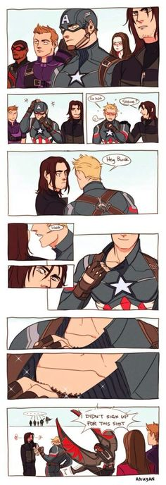 "Can someone explain this to me? <<<< Steve getting ""hot"" in front of Bucky and Sam not signing up for that shit"