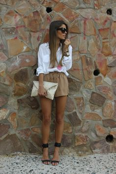 loose silk shorts and classic white button up