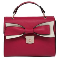 Bow bag fuchsia pink #prettybag http://www.palmerstores.com/product/envy-bags-bow-front-handbag/3411/