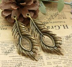8 pcs 28x72mm  Antique Bronze FeatherPeacock Feathers by bestfire, $1.99