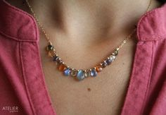 Precious and Semiprecious Gemstones in Goldfilled Necklace by ATELIERGabyMarcos, $139.00