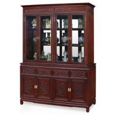 60in Flower and Bird Motif Rosewood China Cabinet - Mahogany