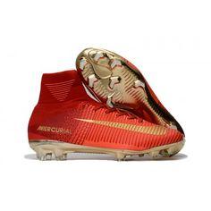 best sneakers 359ee eada5 Nuevos Botas De Futbol Nike Baratas Mercurial Superfly V CR7 FG Rojas Oro  Top Soccer,