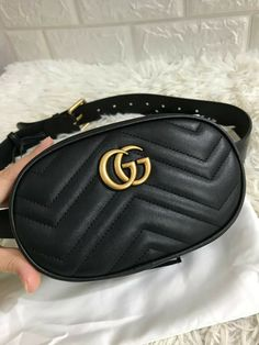 047434c8cee Details about 100% Authentic Gucci GG Small Marmont Black Leather Matelasse  Shoulder Bag