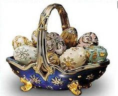 A Fabergé egg (Russian: Яйца Фаберже; Yaĭtsa Faberzhe) is any one of the thousands of jeweled eggs made by the House of Fabergé from 1885 through 1917. The story began when Tsar Alexander III decided to give his wife the Empress  an Easter Egg in 1885, possibly to celebrate the 20th anniversary of their betrothal.