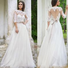 Elegant Lace Princess Sheer Top Long Sleeve Wedding Dress Plus Size Wedding Gowns With Bow Belt maternity Beach Bride Dress(China (Mainland))