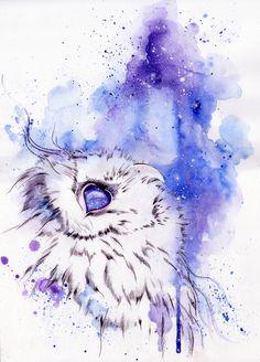 Watercolor Owl Tattoos, Owl Watercolor, Watercolor Animals, Watercolor Paintings, Origami Tattoo, Animal Drawings, Art Drawings, Owl Wallpaper, Desenho Tattoo