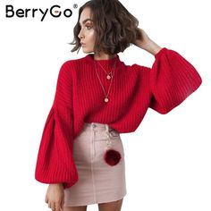 BerryGo Elegant black vintage knitted sweater Women casual long lantern sleeve jumper pullover Autumn winter loose grey sweater #BerryGo #sweaters #women_clothing #stylish_sweater #style #fashion