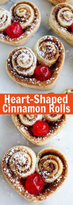 Heart Shaped Cinnamon Rolls – the cutest and best cinnamon rolls ever, made into heart-shape and stuffed with red cherries. So adorable | rasamalaysia.com