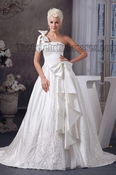 Gorgeous A-Line One Shoulder Chapel  Train Wedding Dresses #WeddingDresses #WeddingDress