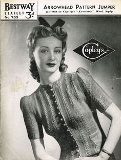 Bestway 733 arrowhead pattern ladies vintage cardigan knitting pattern PDF instant download on Etsy, $2.38