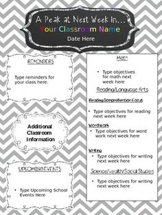 1000 images about classroom organization on pinterest for Free editable newsletter templates
