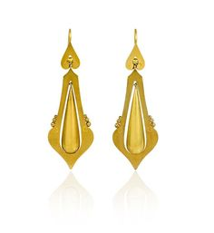 A pair of antique gold earrings comprised of teardrop-shaped pendants suspended in tapering frames, in 15k.