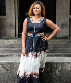 Long maxi ankara and chifon mix dress on sale by @oscsignaturefashion