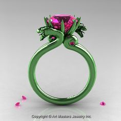 Art Masters 14K Green Gold 3.0 Ct Pink Sapphire by artmasters, $4259.00