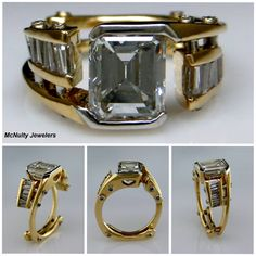 We worked very closely with our client to create this unique and one-of-a-kind engagement ring. She needed a ring she could wear to work as a dental hygentist. This stunning 2ct Emerald cut Diamond and matched, channel set Baguette Diamonds set in 18kt Yellow gold and Platinum ring is the final piece. McNulty Jewelers original design