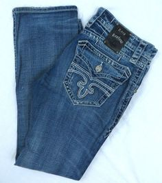 Rock Revival Jeans 33W Freddie Straight Leg Blue Frayed Embroidered Distressed #RockRevival #ClassicStraightLeg