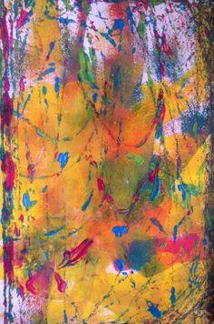 Peinture aux billes sur fond coloré à l'encre