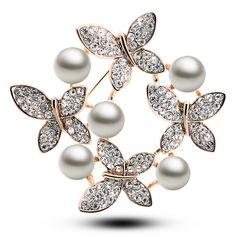 Pearl & Butterfly Brooch