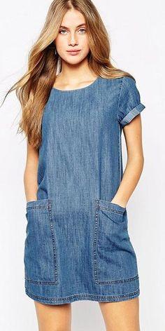 Fashion Solid Color Short Sleeve Round Neck Loose Denim Dress