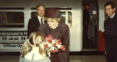 April 1, 1986: Prince Charles & Princess Diana at Heathrow Terminal 4 for the opening ceremony. They travelled on the new inderground train link between Hatton Cross and Terminal 4