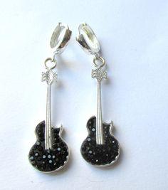 Sterling Silver Earrings , Silver Earrings , Guitar Earrings with Black Zircon Gems by Rosestyle on Etsy