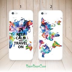 Keep Calm and Travel On map case for iPhone 6/4s/5/5s/5c, Samsung S5/Note4, Sony, LG Nexus, Nokia Lumia, HTC One, Moto X Moto G (L69) from Beanbeancase