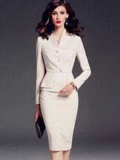 White Ol Graceful Women Skirt Suit