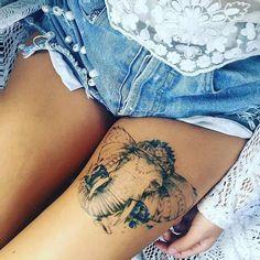 tattoo am oberschenkel, bein tattoos, elefant, tattoos fuer frauen, weiblich