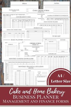 Cake And Bakery Business Planner, Financial and Management Forms, Trackers, Personal And Business To Do Lists This Cake and Bakery Business Planner Bundle is for people who love having an organized business. With the help of these printable form it will Home Bakery Business, Baking Business, Cake Business, Business Planner, Business Ideas, Business Logo, Business Quotes, Recipe Calculator, Cake Order Forms