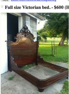 If you like craigslist-bargains or estate-sale hunting, you MUST read the story of this antique bed. **this girl's craigslist stories are hysterical. Victorian Bedroom, Victorian Homes, Queen Mattress, Queen Size Bedding, Antique Beds, Antique Furniture, Furniture Makeover, Diy Furniture, Full Headboard