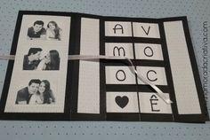 DIY - Cartão Amo Você - Namorada Criativa - 10 Valentines Diy, Origami, Diy And Crafts, Scrapbook, Love, Panda, Bb, Flowers, Birthday Cards For Boyfriend