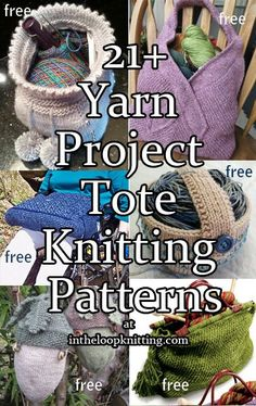 Knitting Patterns for Project Bags and Totes. Most patterns are free