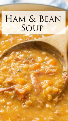 Bean Soup Recipes, Crockpot Recipes, Cooking Recipes, Healthy Recipes, Easy Dinner Recipes, Easy Meals, Ham And Bean Soup, Rich Recipe, Soup And Sandwich