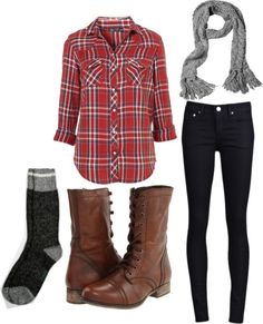 Flannel button down, black jeans, brown lace up boots, gray scarf.