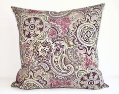 Paisley Outdoor Pillow Cover - Indoor, Pink, Mauve, Brown, Tan, Floral, Cushion, Boho, Chic, Cushion, Throw, Patio, Garden, Deck, Pillow