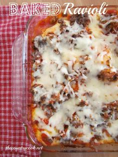 The Country Cook: Baked Ravioli- I used Italian sausage, no onion, pizza sauce with a little water mixed in and probably only half a bag of the  ravioli in my small casserole dish.