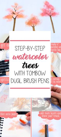 Easy Watercolor Trees with Tombow Dual Brush Pens - The Petite Planner Step-by-Step Easy Watercolor Trees with Tombow Dual Brush Pens and a Cotton Ball Tombow Dual Brush Pen, Tombow Markers, Brush Pen Art, Watercolor Brush Pen, Watercolor Trees, Easy Watercolor, Watercolour Tutorials, Watercolor Portraits, Painting Tutorials