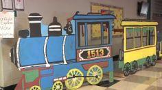 Train photo booth cutout for party Polar Express Party, Polar Express Train, Christmas Express, Christmas Train, Cardboard Train, Circus Decorations, Bible School Crafts, Sunday School Activities, Choo Choo Train