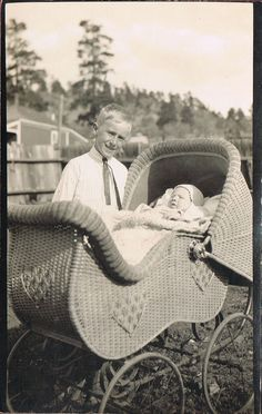 RPPC~Real Photo Postcard~Boy With Infant In Ornate Antique Wicker Baby Carriage